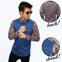 Kemeja Combination Batik Abstract Colorful Navy