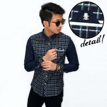 Kemeja Flannel Skull Button Green