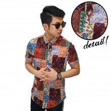 Kemeja Short Batik Perca Casual Maroon