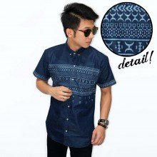 Kemeja Short Chambray Moon Tribal