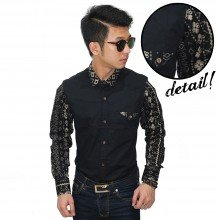 Kemeja Sleeve Batik Tenun Black