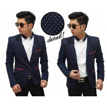 Blazer Casual Navy With Polkadot Yellow