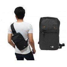 Shoulder Bag Plain With Double Button Black