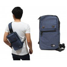 Shoulder Bag Plain With Double Button Navy
