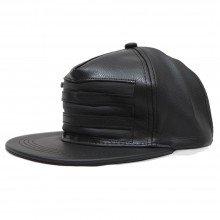 Topi Snapback Leather Three Zipper Black