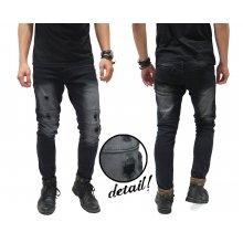 Biker Jeans Spotting Ripped Black Faded