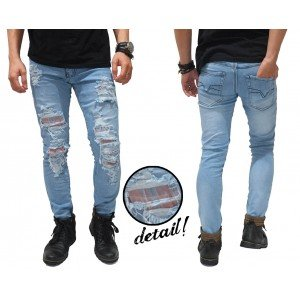 Jeans Ripped Extreme With Patch Kakkoii Light Blue