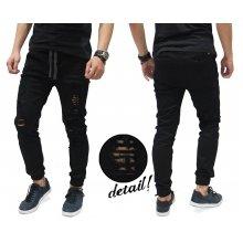 Jogger Pants Jeans Ripped Black