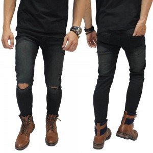 Jeans Washed Black Knee Rips Cut