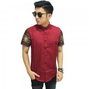 Kemeja Pendek Kombinasi Lengan Batik Songket Maroon