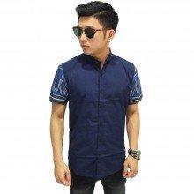 Kemeja Pendek Kombinasi Lengan Batik Songket Navy