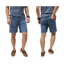 Celana Pendek Denim Acid Wash Blue