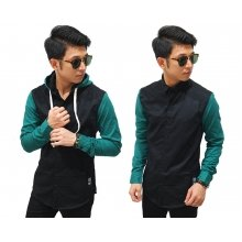 Kemeja Hooded Black Sleeve Green
