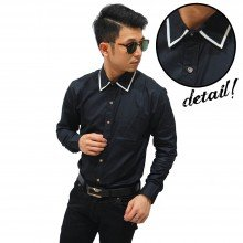 Kemeja List Under Collar Black