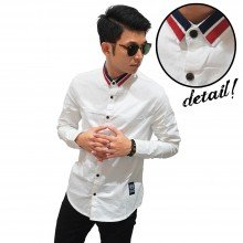 Kemeja Neck Double Stripe White