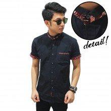 Kemeja Pendek Shanghai Batik Collar Black