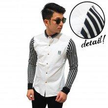 Kemeja Sleeve Stripe Essential White