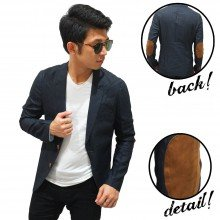 Blazer Casual With Elbow Patch Black