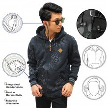 Jacket Hoodie With Earphone Crack Black
