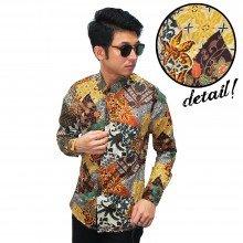 Kemeja Batik Mixed Motif Yellow