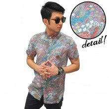 Kemeja Pendek Paisley Tribal Colourful