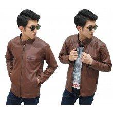 Jacket Leather Biker Brown