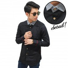 Kemeja Collar And Arm Stripe Black