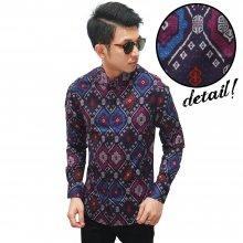 Kemeja Batik Songket Elegant Full Pattern Purple - LIMI