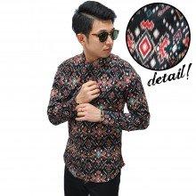 Kemeja Batik Songket Tenun Black