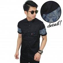 Kemeja Pendek Shanghai Sleeve Batik Black