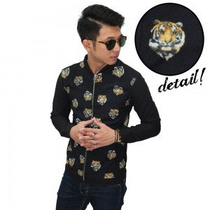 Jacket Printed Tiger Face Unisex Black
