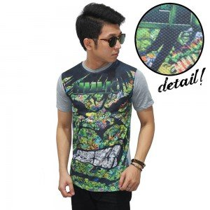 Kaos Superheroes Hulk Face Art Soft Grey