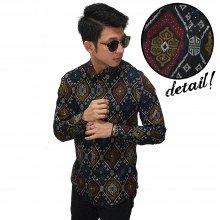 Kemeja Batik Songket Elegant Full Pattern Black
