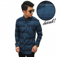 Kemeja Flannel Big Stripe Navy