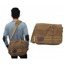 Messenger Bag Canvas Double Stripe Brown
