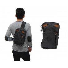 Shoulder Bag Double Pocket Black