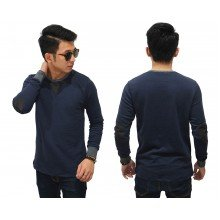 Sweatshirt Neck And Elbow Patch Navy