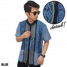 Baju Koko Pendek Modern Bordir Garis Blue