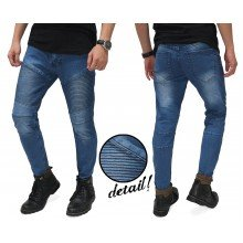 Biker Jeans Ribbed Panel Blue