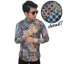 Kemeja Batik Elegant Mixed Motif Blue