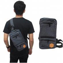 Shoulder Bag Canvas Double Zipper Dark Grey