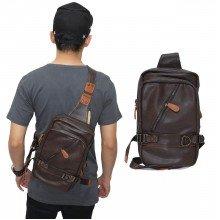 Shoulder Bag Leather Sideway Zipper Brown