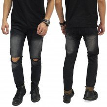 Celana Jeans Ripped On Knee Black Washed