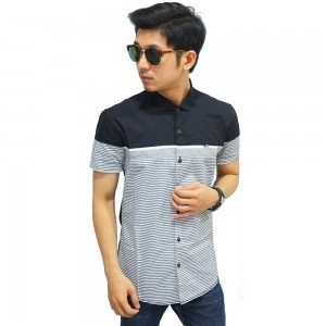 Kemeja Pendek Combination Stripe Black