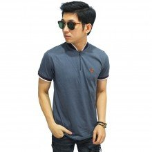Polo Stand Collar With Zipper Grey