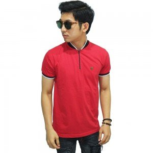 Polo Stand Collar With Zipper Red
