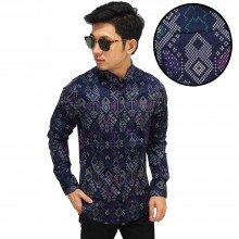 Kemeja Batik Songket Sumatera New Purple