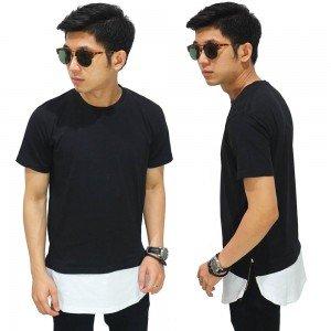 Longline T-Shirt Two Tone Zipper Black