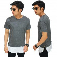 Longline T-Shirt Two Tone Zipper Grey