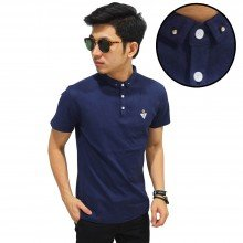 Polo Elegant Diamond Button Navy